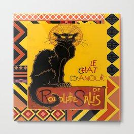 Le Chat Noir D'Amour With Ethnic Border Metal Print