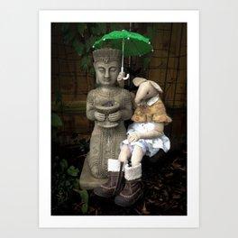Miss Mouse and Garden Buddha Art Print