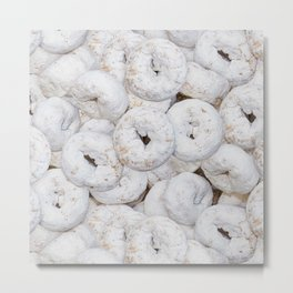 Mini Powdered Sugar Donuts Photo Pattern Metal Print