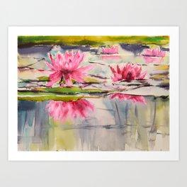 Passion Pink Lotus Flowers Art Print