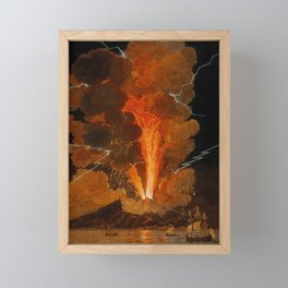 Mount Vesuvius erupting at night, billowing clouds and flashes of lightning Framed Mini Art Print