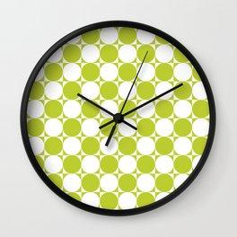 Green and White Circle Pattern Wall Clock