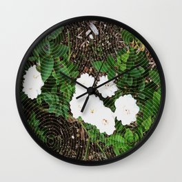 White Roses in bloom Wall Clock