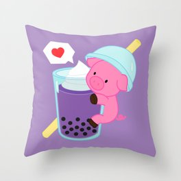 Pig with Purple Bubble Tea Throw Pillow