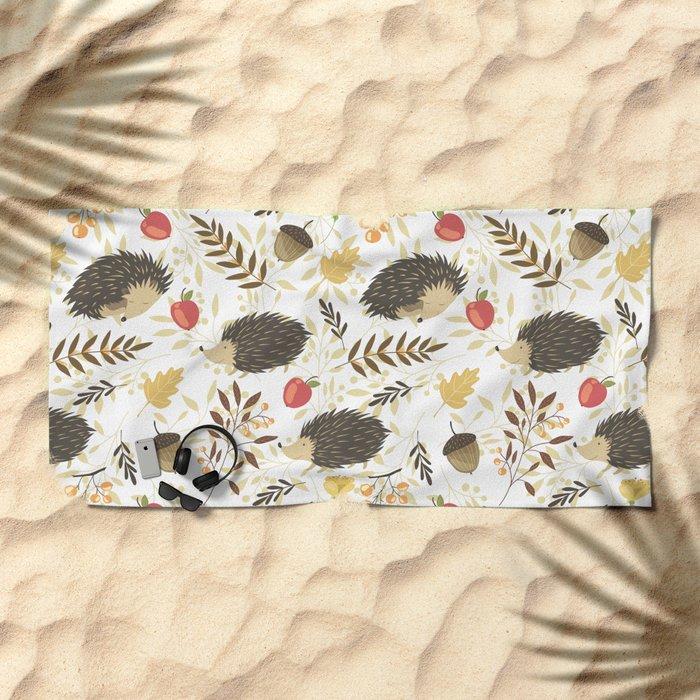 Cute hedgehogs Beach Towel