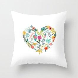 Vintage Flower Heart Throw Pillow