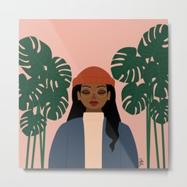 Girl vs. Monstera Metal Print
