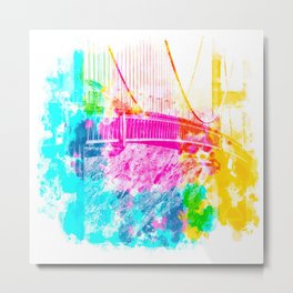 closeup Golden Gate bridge, San Francisco, USA with colorful painting abstract background Metal Print