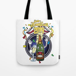 The Happy New Year 2019 New Year's Eve 2019 Gift T-Shirt Year Of The Pig Drink Wine Celebrate Drunk Tote Bag
