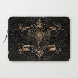 Owl in Sacred Geometry Composition - Black and Gold Laptop Sleeve