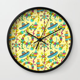 Mexican Fiesta Pinate Party Pattern Wall Clock
