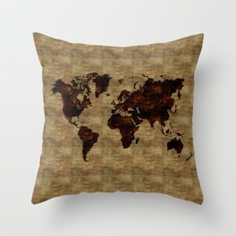 Wood burn world map Throw Pillow