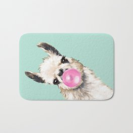 Bubble Gum Sneaky Llama in Green Bath Mat
