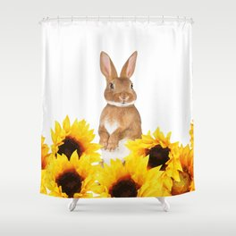 Sunflower Rabbit Shower Curtain