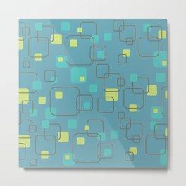 Swank Teal Blue Abstract Pattern Metal Print