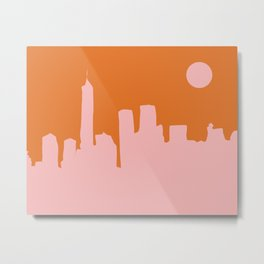 Cityscape NYC - Minimalist Abstract Manhattan City View in Retro Pink and Orange Metal Print