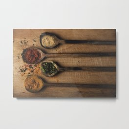 Spoons filled with spices Metal Print
