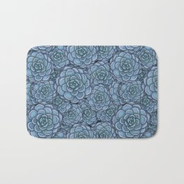 Blue Succulent Pattern Bath Mat