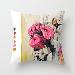 Pink wood stumps Throw Pillow