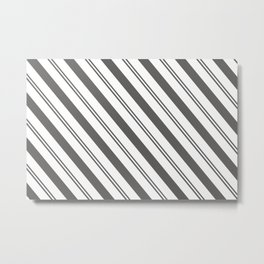 Pantone Pewter and White Stripes Angled Lines Metal Print