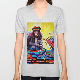 Monkey Smoking Outsider Art Painting Unisex V-Neck