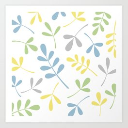 Assorted Leaf Silhouettes Blue Green Grey Yellow White Art Print