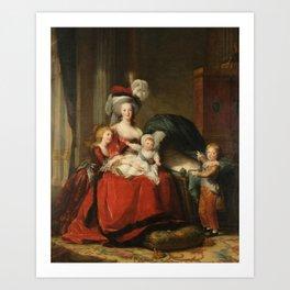 Marie Antoinette and her children by Elisabeth Vigee Le Brun, 1787 Art Print