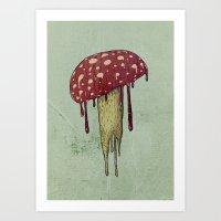 mushroom Art Prints featuring Mushroom by Lime