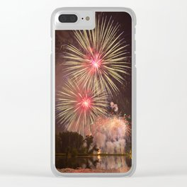 Rose, Yellow and Purple Fireworks over a Pond with Lilypads Clear iPhone Case