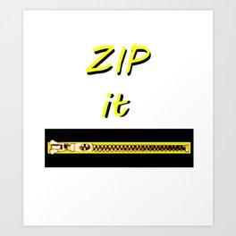 Zip it Black Yellow jGibney The MUSEUM Gifts Art Print