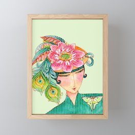 """do you like my hat?"" woman in feathers and flowers watercolor art Framed Mini Art Print"