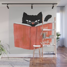 Cat reading book Wall Mural