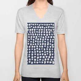 Dots / Navy Unisex V-Neck