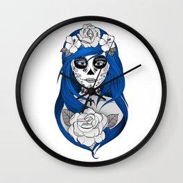 Santa Muerte Blue Wall Clock