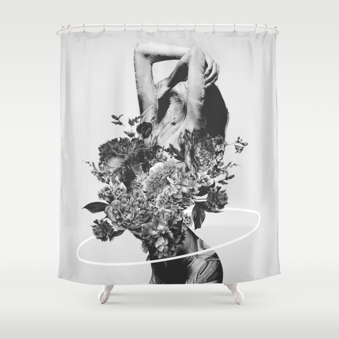 black white shower curtains society6. Black Bedroom Furniture Sets. Home Design Ideas