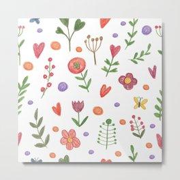 Cute hand drawn flowers pattern Metal Print