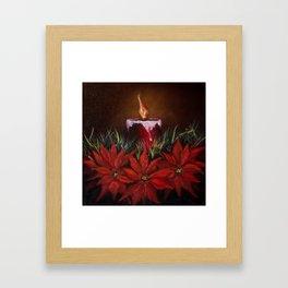 Candlelit Poinsettia's Framed Art Print