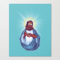 zoidberg Canvas Prints featuring Zoidberg Jesus by Kim Hobby