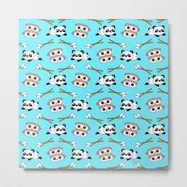 Cute funny Kawaii chibi little playful baby panda bears, happy sweet cheerful sushi with shrimp on top, rice balls and chopsticks light pastel blue pattern design. Nursery decor. Metal Print