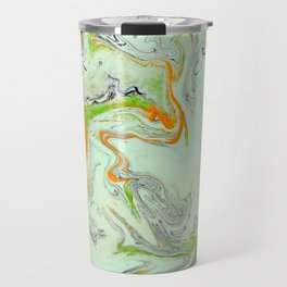 Bright Orange Marble Print - Colorful Graphic Art Travel Mug