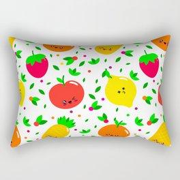 Cute & Whimsical Fruit Pattern with Kawaii Faces Rectangular Pillow