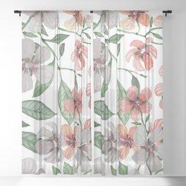 FLOWERS WATERCOLOR 12 Sheer Curtain