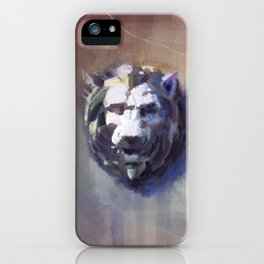 Lion Head Red Marble iPhone Case