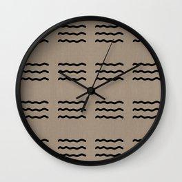 NEUTRAL LINEN . TAN + BLACK WAVY LINES Wall Clock