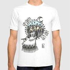 Go crazy. Get Lost White Mens Fitted Tee MEDIUM
