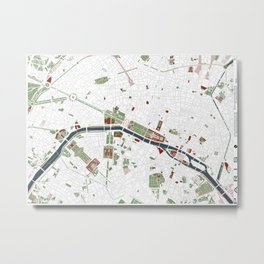 Paris city map minimal Metal Print