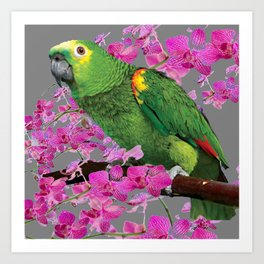 TROPICAL GREEN PARROT & FUCHSIA ORCHIDS  GREY ART Art Print