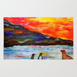 Beautiful Penguins With Sea Lion By The Blue Ocean Painting Rug