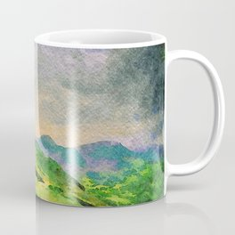 Moody Mountains in the Lake District, England. watercolor painting Coffee Mug
