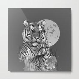 Tiger with Cub (B/W) Metal Print
